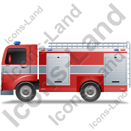 Fire Truck Left Grey Icon
