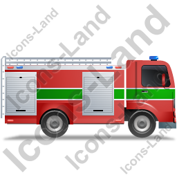 Fire Truck Right Green Icon, PNG/ICO, 256x256