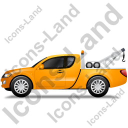 Tow Truck Left Yellow Icon, PNG/ICO, 256x256