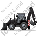 Backhoe Loader Left Black Icon, PNG/ICO, 128x128