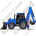 Backhoe Loader Left Blue Icon