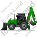 Backhoe Loader Left Green Icon, PNG/ICO, 128x128