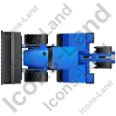 Backhoe Loader Top Blue Icon, PNG/ICO, 128x128