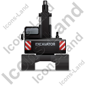 Excavator Back Black Icon, PNG/ICO, 128x128