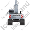 Excavator Back Grey Icon, PNG/ICO, 128x128
