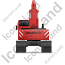 Excavator Back Red Icon, PNG/ICO, 128x128