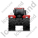 Farm Tractor Back Red Icon