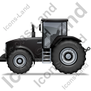 Farm Tractor Left Black Icon, PNG/ICO, 128x128