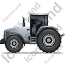 Farm Tractor Left Grey Icon, PNG/ICO, 128x128