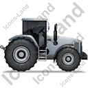 Farm Tractor Right Grey Icon, PNG/ICO, 128x128