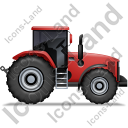 Farm Tractor Right Red Icon