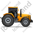 Farm Tractor Right Yellow Icon, PNG/ICO, 128x128