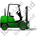 Forklift Truck Right Green Icon, PNG/ICO, 128x128