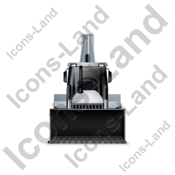 Backhoe Loader Front Grey Icon