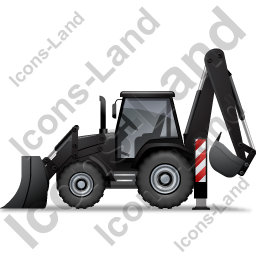 Backhoe Loader Left Black Icon, PNG/ICO, 256x256