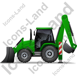 Backhoe Loader Left Green Icon, PNG/ICO, 256x256