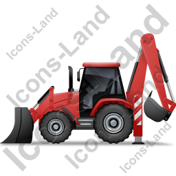 Backhoe Loader Left Red Icon