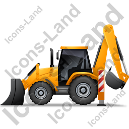 Backhoe Loader Left Yellow Icon
