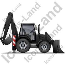 Backhoe Loader Right Black Icon