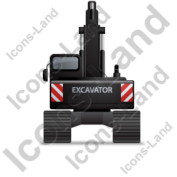 Excavator Back Black Icon, PNG/ICO, 256x256