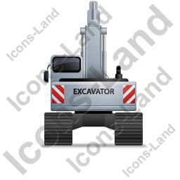 Excavator Back Grey Icon, PNG/ICO, 256x256