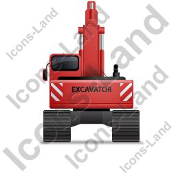 Excavator Back Red Icon, PNG/ICO, 256x256