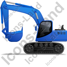 Excavator Left Blue Icon