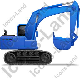 Excavator Right Blue Icon, PNG/ICO, 256x256