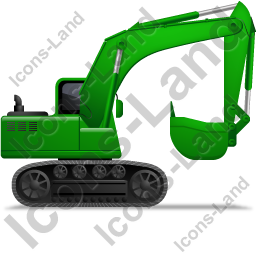 Excavator Right Green Icon, PNG/ICO, 256x256