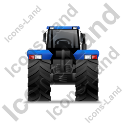 Farm Tractor Back Blue Icon