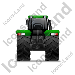 Farm Tractor Back Green Icon