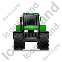 Farm Tractor Front Green Icon, PNG/ICO, 256x256