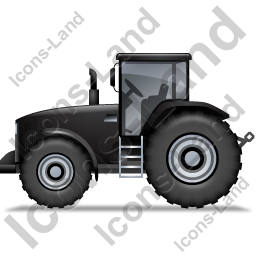 Farm Tractor Left Black Icon, PNG/ICO, 256x256