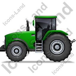 Farm Tractor Left Green Icon, PNG/ICO, 256x256