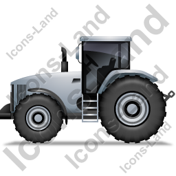 Farm Tractor Left Grey Icon, PNG/ICO, 256x256
