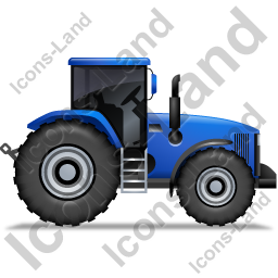 Farm Tractor Right Blue Icon