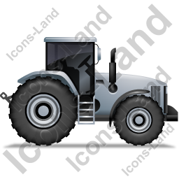 Farm Tractor Right Grey Icon, PNG/ICO, 256x256