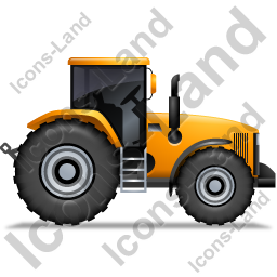 Farm Tractor Right Yellow Icon, PNG/ICO, 256x256