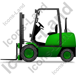 Forklift Truck Left Green Icon