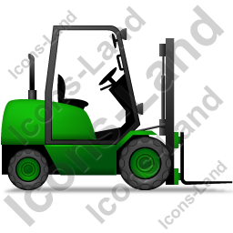 Forklift Truck Right Green Icon, PNG/ICO, 256x256