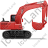 Excavator Right Red Icon