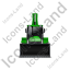 Backhoe Loader Front Green Icon