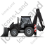 Backhoe Loader Left Black Icon, PNG/ICO, 64x64