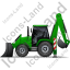 Backhoe Loader Left Green Icon