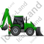 Backhoe Loader Right Green Icon