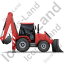 Backhoe Loader Right Red Icon