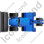 Backhoe Loader Top Blue Icon, PNG/ICO, 64x64