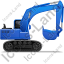 Excavator Right Blue Icon, PNG/ICO, 64x64