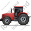 Farm Tractor Left Red Icon