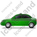 Taxi Left Green Icon, PNG/ICO, 128x128
